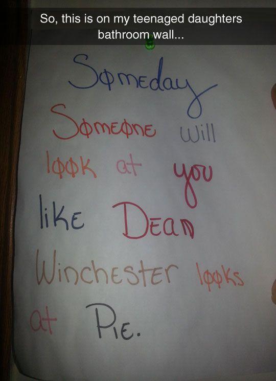 Dean + pie = forever