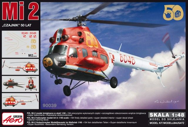 PZL Mi-2 50th Special Scheme. Aeroplast, 1/48, rebox 2013 (ex Aeroplast 2013 No.90035, changed decals only), No.90039. Price: 27,13 EUR (marketplace). Decals 1x (Polish Air Force, 5046, 50th Years Special Scheme).