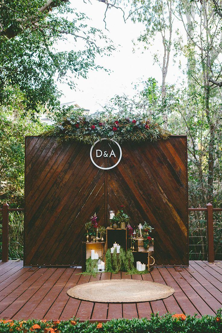 Rustic boho outdoor wedding ceremony backdrop | Sweet Mary Photography