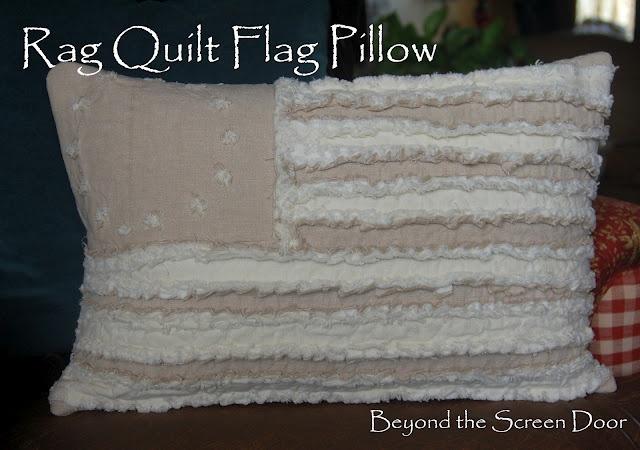 Betsy Ross Flag Pillow Rag Quilt Style