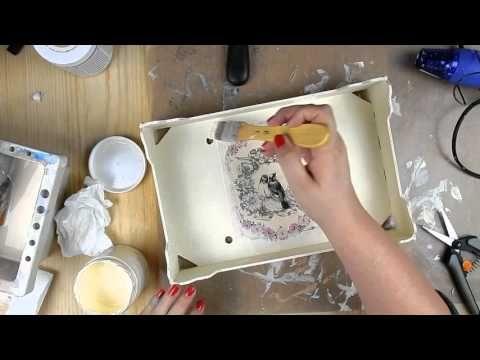 Cómo reciclar caja de fruta y tarro con gesso y chalk paint - YouTube