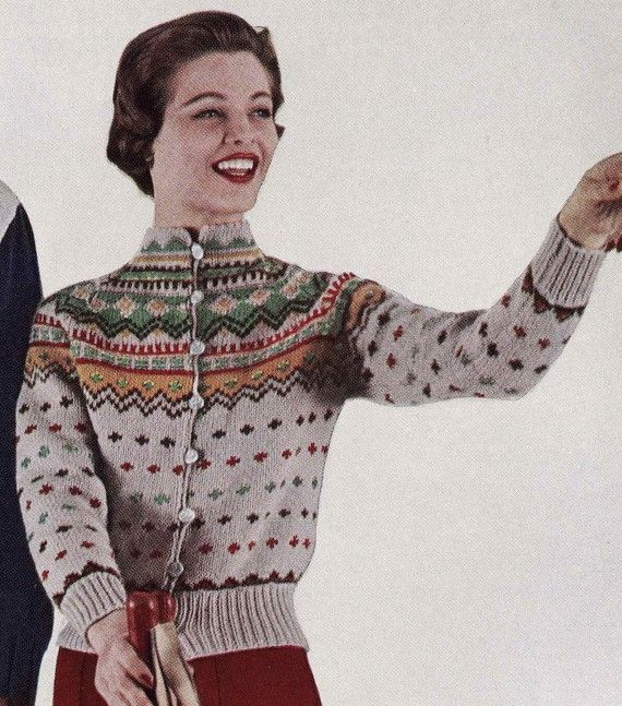 Vintate Ski Lodge Button Down Cardigan Sweater - from knitsomuch on etsy