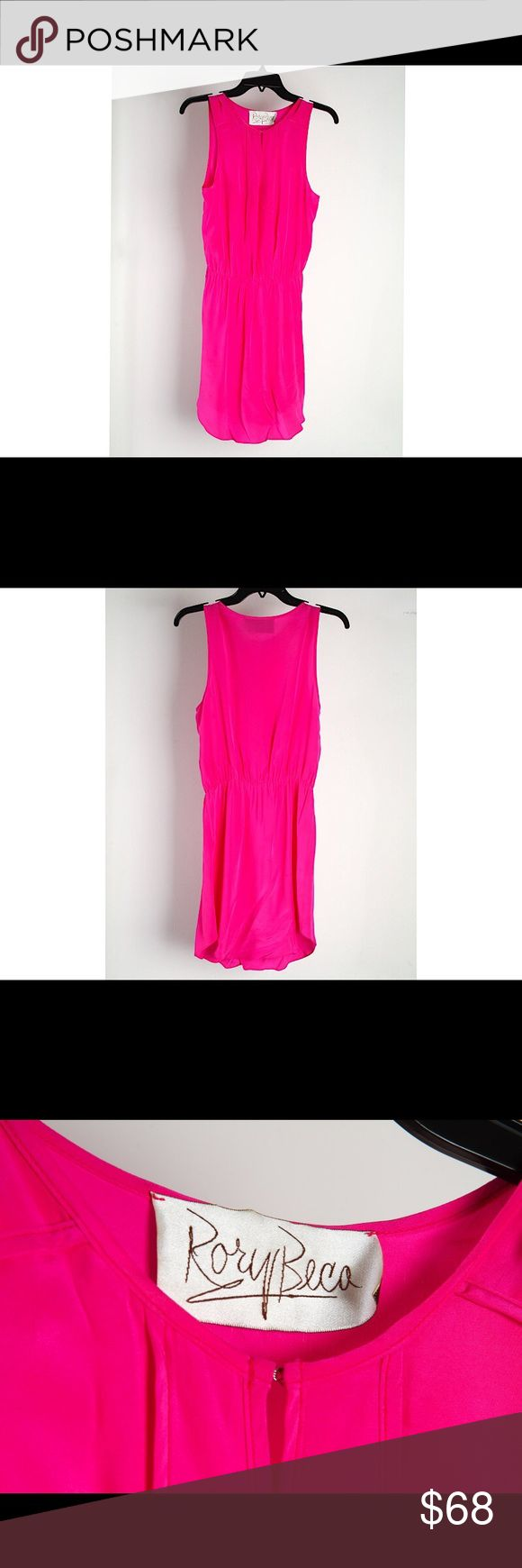 RORY BECA hot pink sleeveless silk dress Hook closure (or not!) at collar with sexy key hole, elastic waist. Bought from sample sale so no fabric care and size labels, but it's a small. The material is silk and requires dry clean. Only worn once, LIKE NEW! Rory Beca Dresses