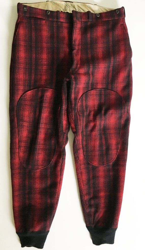 e15f337075243 Mens 1950s Vintage Woolrich Woolen Mills Wool Dark Red Mackinaw Plaid Hunting  Pants/Trousers. Thick & Heavy Slacks. 38. Man. Outdoors.Hunter