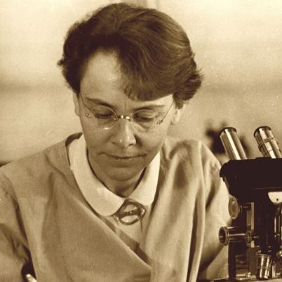 """Barbara McClintock received her Ph.D. from Cornell University in Botany. She specialized in cytogenetics, particularly the study of chromosomes in corn. She discovered the role of """"controlling elements"""" in genetic regulation and transposition. Her work was considered too radical (or simply ignored) until it was replicated in the late 1960s. McClintock received the Nobel Prize in 1983."""