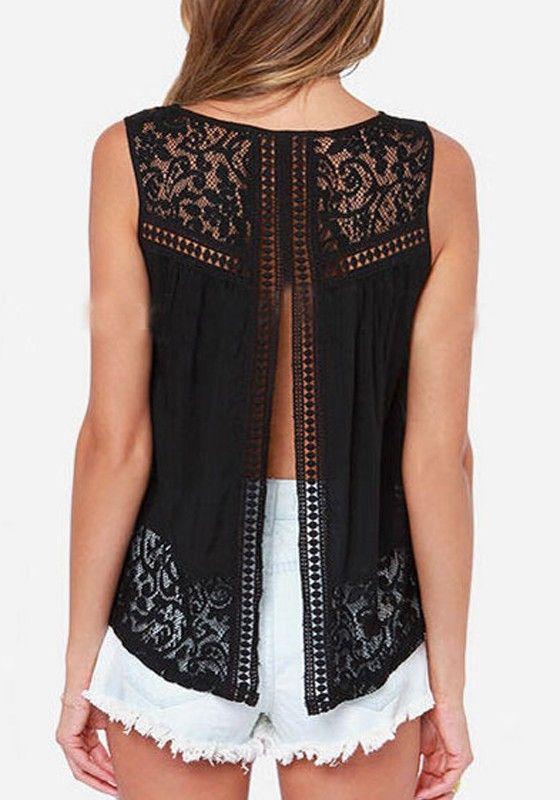 Black Plain Hollow-out Lace Silk Elegant Blouse