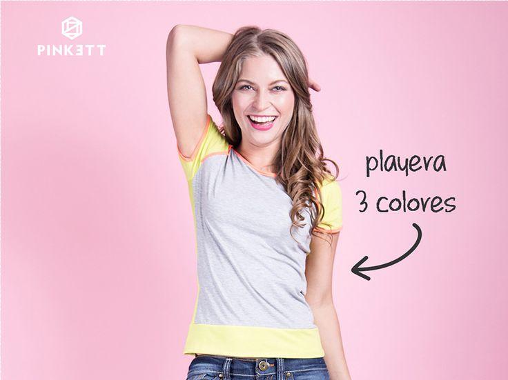 Si tu look es un poco más sport, ¿Qué te parece esta playera gris de tres colores? Ideal para combinarla con unos skinny jeans o unos  leggins negros! www.pinkett.com.mx