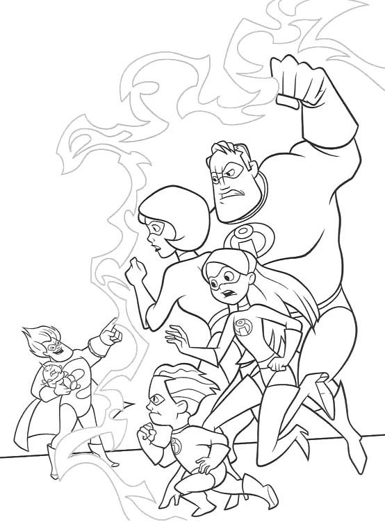 Printable The Incredibles Family Vs Syndrome Evil Coloring