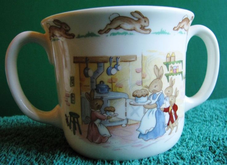 ROYAL DOULTON BUNNYKINS CUP DOUBLE HANDLE FINE CHINA 1936 #royaldoulton