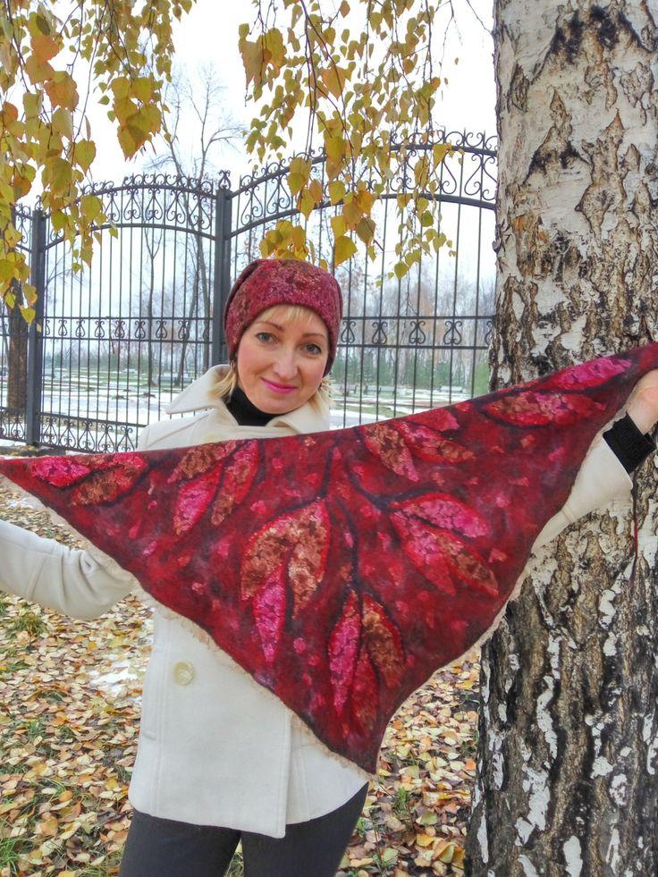 Felted scarf, Women scarf, warm scarf, merino scarf, baktus female, baktus wool, beautiful baktus, red-brown scarf, red-brown baktus by FeltEcoStyle on Etsy