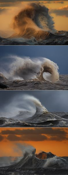 Surreal photos of crashing waves caught in motion on Lake Erie via The Washington Post