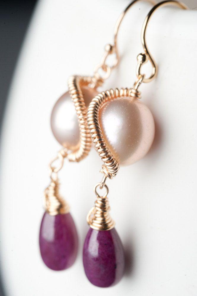 14k Gold fill Earrings w/ Natural Ruby and Peach Pearl: Chloe. $72.00, via Etsy.