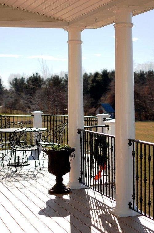 Vinyl deck with roof, aluminum railing, and vinyl columns | Stump's Quality Decks and Porches