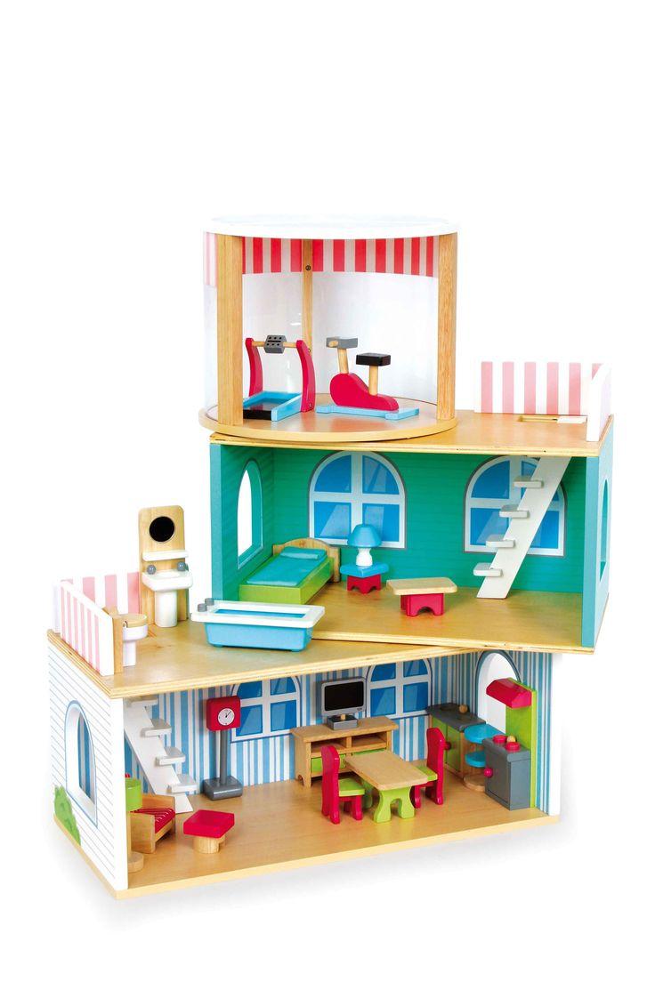 Genieten van fantasierijke speeluren met dit poppenhuis van 3 elementen! De elementen van stevig massief hout en multiplex kunnen op elkaar, naast elkaar of afzonderlijk worden neergezet en bieden kinderhanden vrije toegang, met hun open voorkanten! Het 21-dlg. toebehoren aan meubilair biedt veelsoortige mogelijkheden voor sociaal vormende rollenspellen en de decoratief versierde wanden zorgen voor een gezellige charme! De meubels zijn gedetailleerd van geslepen en gelakt hout gemaakt en…
