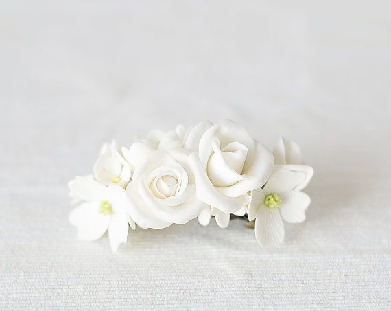 Bridal white flower barrette by GentleDecisions