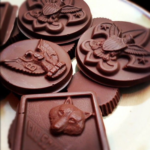 Boy Scout candy-mold chocolates for a Court of Honor.