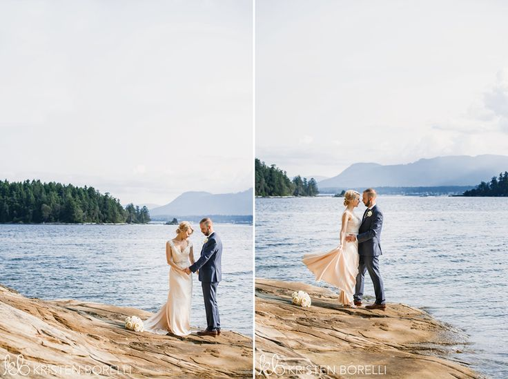 Thetis Island Overbury Resort Wedding. Portrait of bride and groom by the ocean on rugged terrain.