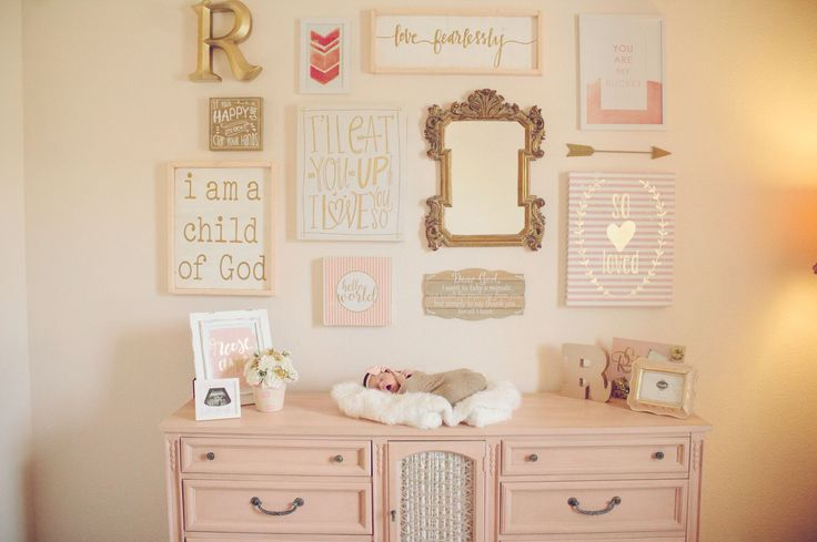 Collage wall in baby girl's nursery, gorgeous painted dresser by Sibling Salvage and Madolly's