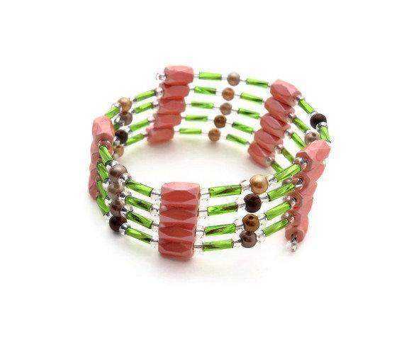 Magnetic Hematite Versatile Cuff - Wrap - Bracelet - Necklace - Anklet - Choker - Green - Pink - Brown
