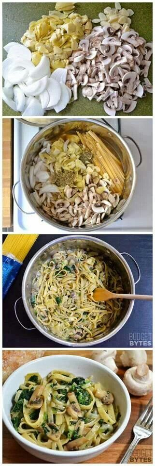 One pot wonder Spinach, Artichoke,  Mushroom pasta   recipe in comments. Fixed the Link