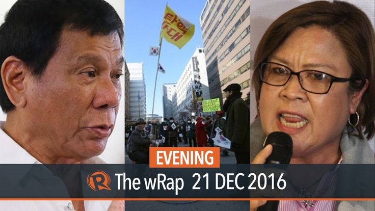 Leila de Lima, Rodrigo Duterte, South Korea | Evening wRap - WATCH VIDEO HERE -> http://dutertenewstoday.com/leila-de-lima-rodrigo-duterte-south-korea-evening-wrap/   Watch Rappler's evening newscast with Acor Arceo Follow Rappler on Social Media: Facebook – Twitter – Instagram – YouTube – SoundCloud – Google+ – Tumblr –  News video credit to Rappler's YouTube channel