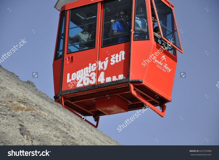 Tatranska Lomnica, Slovakia -  September 05, 2011: Tourists return by cable car from the summit of Lomnica.