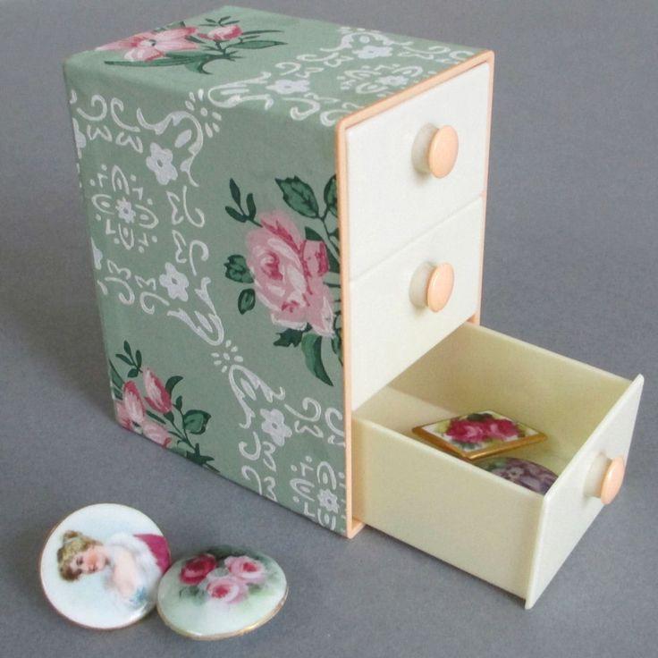 "Vintage 4"" MINIATURE Celluloid 3-Drawer Box Jadeite Wallpaper w ROSES * Dolls"