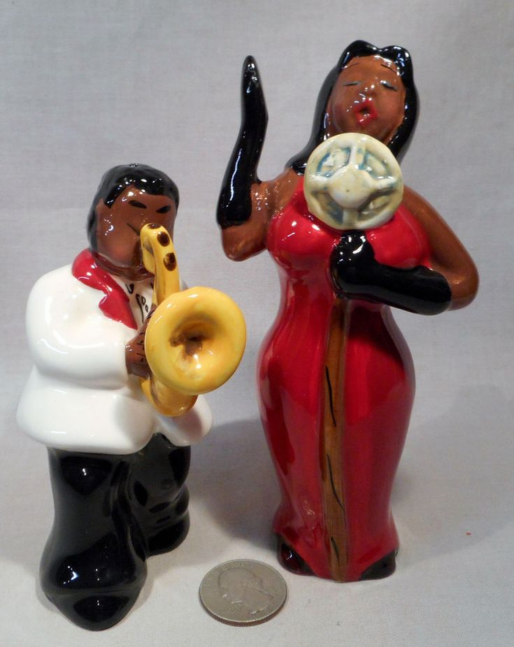 New Black Americana Saxophone Player & Singer S&P Shakers  | eBay