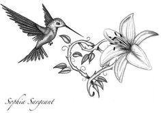 Hummingbird And Lily Flower Tattoo Design