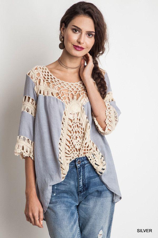 Crochet Tunic - Silver - $33.50