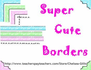 """This free set of super cute borders includes 4 full page borders, 4 single line borders and 3 different color corner sets.  There are three different colors of bubble borders and a gray scale border.  Feel free to use these to make your own teachers pay teachers items look great or even for your in classroom materials.The full page borders are 11""""x8.5"""" .png files that will look great on all your printables."""