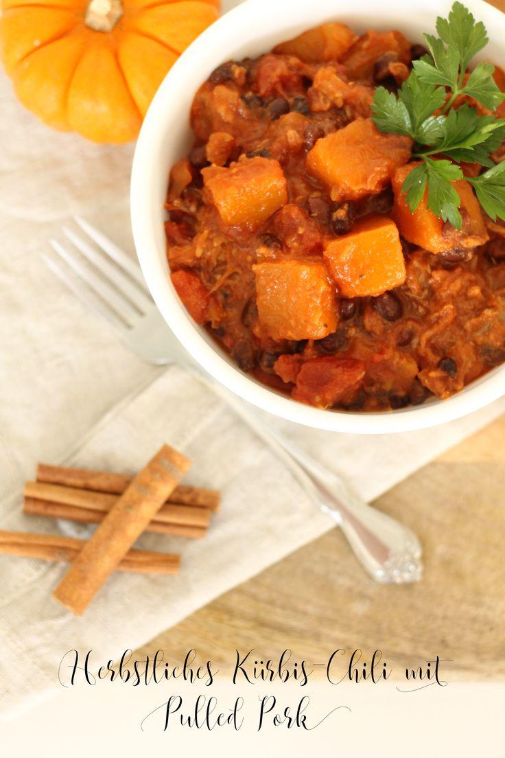 Fit Food Deluxe: Herbstliches Kürbis-Chili mit Pulled Pork. Superlecker und trotzdem wenig Kalorien!