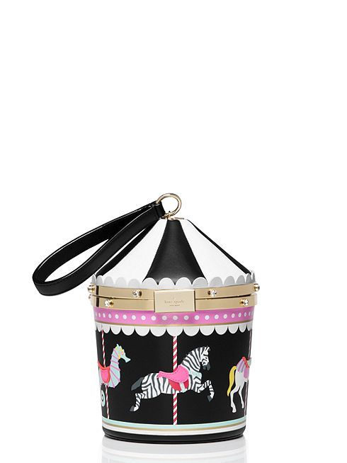 inspired by the look of an old-fashioned carousel, this nifty little frame-close wristlet adds a shot of whimsy to even the most serious black dress.