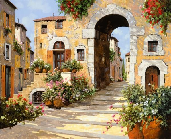 Entrata Al Borgo  /Guido Borelli  Painting Oil on Canvas