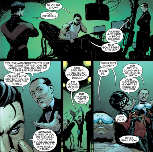 Good ol' Bruce and Dick bantering with a side of 'things getting out of hand for Alfred'!  (◕‿◕✿)/ - Batman and Robin #23