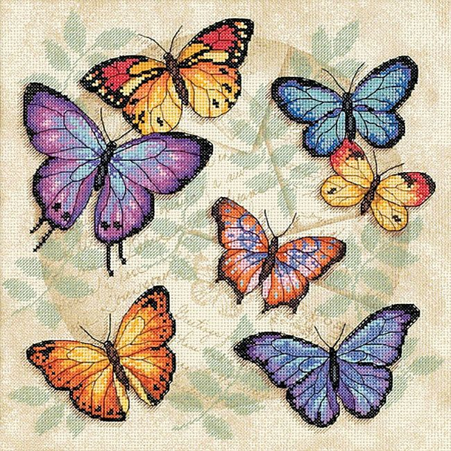 Counted cross stitch kit includes everything you need for a relaxing craft project Portrait features colorful butterflies dancing across a printed background Fun counted cross stitch project will give