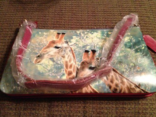 Giraffes Grazing Amongst the Trees /Handbag or Clutch by Blossom Collection. $19.95. Zipper Closure. Long (burgundy) handles for over the the shoulder carrying OR two short(brown) handles (clutch style). Zippered key pocket inside. straight sided, long handles, inside zippered pockets, flat bottom, attached small coin purse