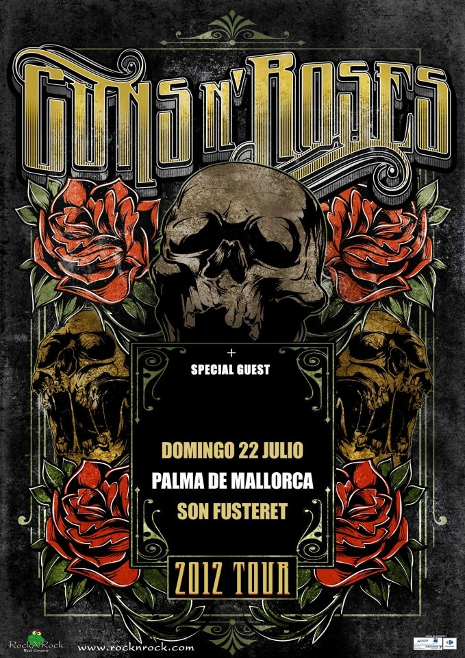 Guns N' Roses gig poster for this weekend in Spain.  Love the typeface specifically.
