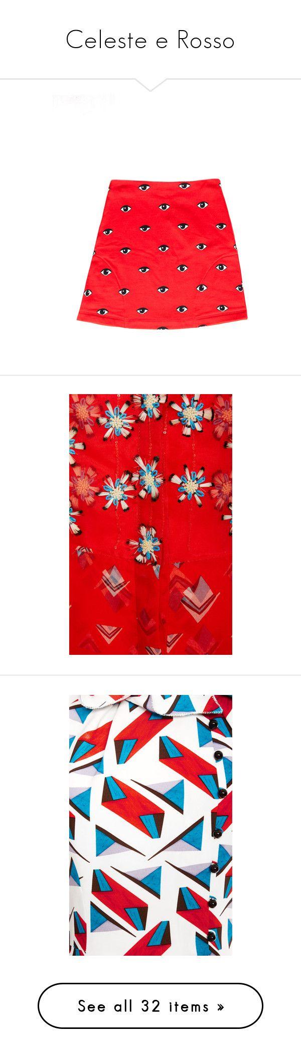 """Celeste e Rosso"" by lorika-borika on Polyvore featuring skirts, mini skirts, bottoms, faldas, юбки, cotton mini skirt, short skirts, red mini skirt, kenzo и cotton skirt"