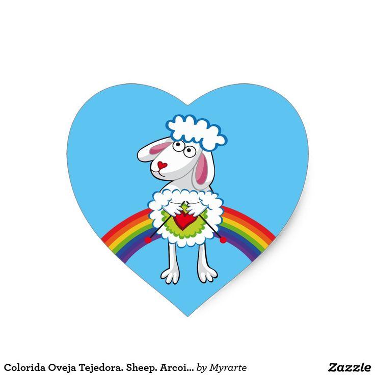 Colorida Oveja Tejedora. Sheep. Arcoiris, rainbow. #sticker