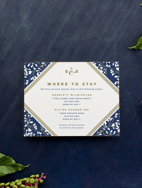 from the blue and gold vine wedding invitation suite by hello tenfold