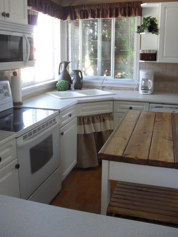 country charm: Broken Cabinets, Adorable Kitchens, Kitchens Ideas, Burlap Decor, Burlap Curtains, Diy Rustic Islands, Burlap Etc, Curtains Country House, Dreamhouse Kitchens