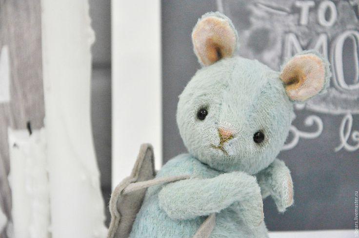 Купить Том - бирюзовый, мышка, мышонок, тедди, игрушка ручной работы, мятный, вискоза Германия