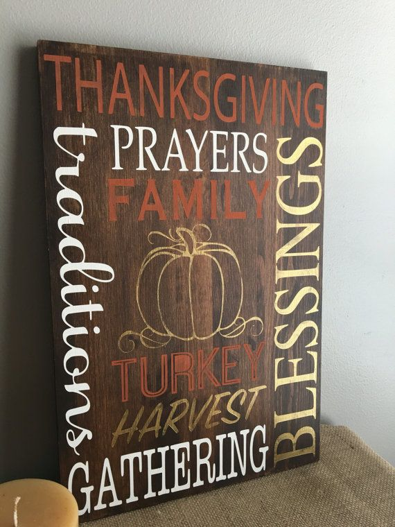Thanksgiving Wood Sign  Fall Decor  by EastCoastChicagoan on Etsy