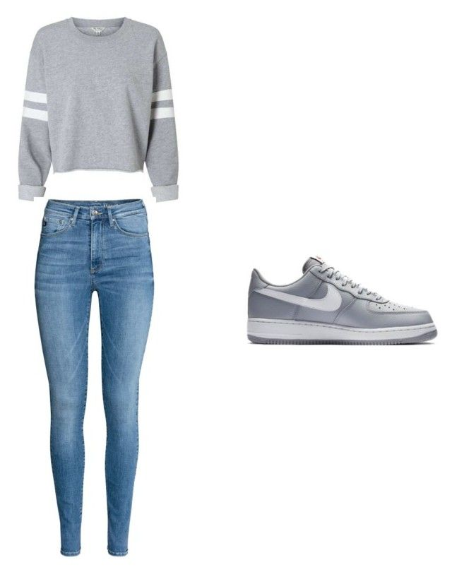 """""""nike air force 1 low grey"""" by tomboy15 on Polyvore featuring NIKE"""