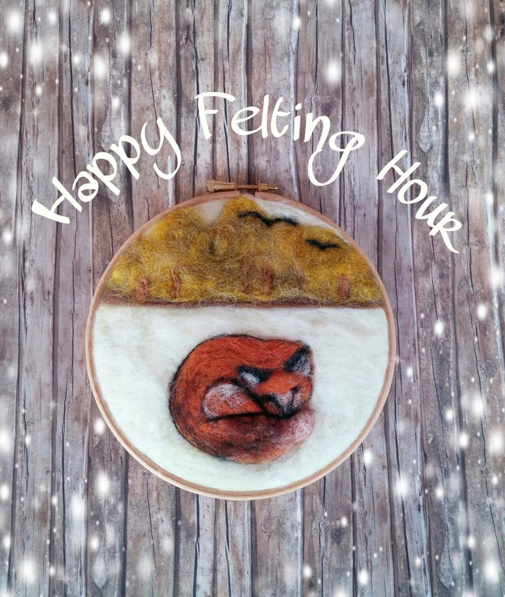 A needle felted fox in a winter scenery/embroidery hoop/wall art by HappyFeltingHour on Etsy
