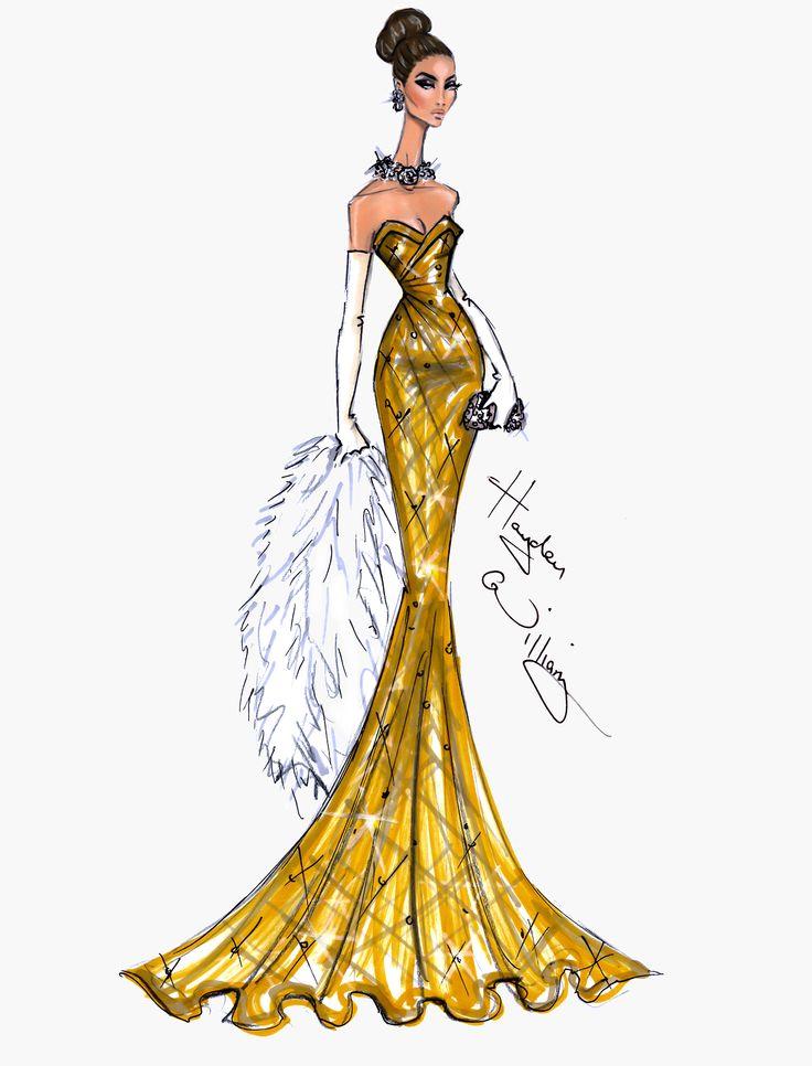 Hayden Williams Fashion Illustrations | Golden Globe Couture 2014 by Hayden Williams