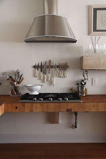 countertop kitchen: Diy Ideas, Countertops Kitchens, Kitchens Design, Butcher Blocks, Range Hoods, Kitchens Countertops, House, Cool Kitchens, Modern Kitchens