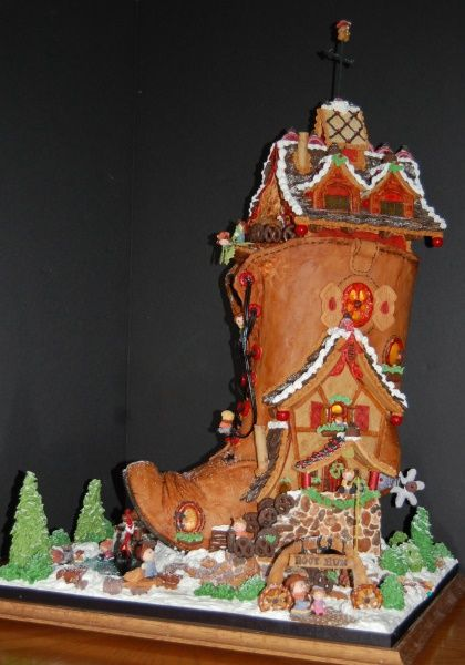 This is the there was an old woman who lived in a shoe with a twist the boot is entirely made from gingerbread the shoe part created using a series of