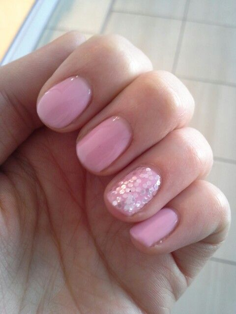 Baby pink with glitter nails. Sensationail. | me.be.happy ...